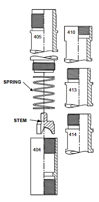 Closed Spring Loaded Assembly (405, 410, 413, 414) Description